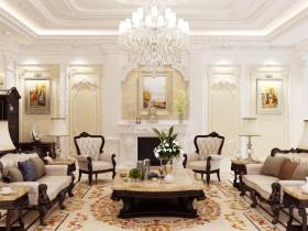 Phối cảnh nội thất 3D phòng khách phong cách Tân Cổ Điển 00041