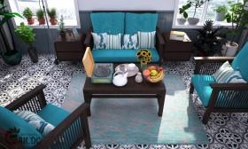Phối cảnh nội thất 3D phòng khách phong cách Cổ Xưa 00042