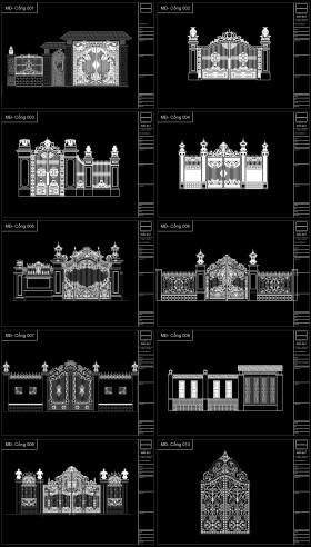 Thư viện Autocad 2d các bộ Cổng biệt thự Tân cổ điển P1