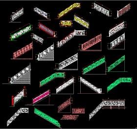 Thư viện Autocad 2d các bộ Hoa sắt cầu thang Tân cổ điển P1