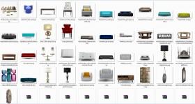 Thư viện 3dsmax 40 model tổng hợp về bàn ghế, tủ kệ, đồ trang trí