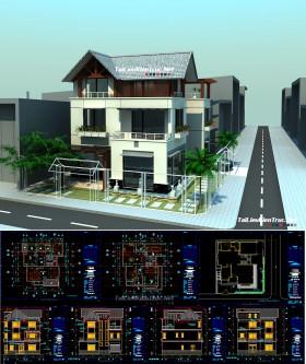 Hồ sơ thiết kế thi công biệt thự 3 tầng mái dốc diện tích 12,5x13,5m 083 full kiến trúc, kết cấu