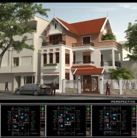 Hồ sơ thiết kế Phương án Biệt thự 3 tầng diện tích 12x13m 085