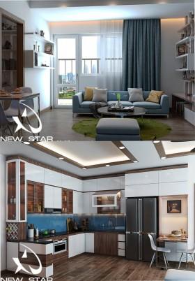 Phối cảnh nội thất 3D phòng khách + Bếp ăn với phong cách Hiện đại và đẹp 00054