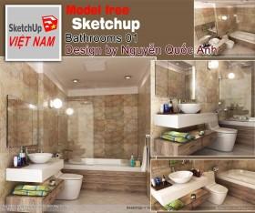 Sence Phòng tắm WC 04 - Thiết kế nội thất phòng tắm + Wc file Sketchup