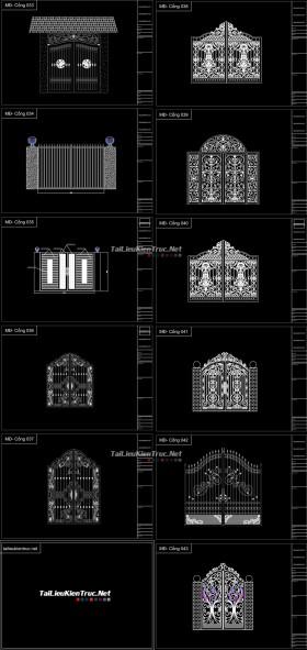 Thư viện Autocad 2d gồm 10 bộ Cổng biệt thự Tân cổ điển P4