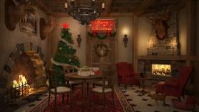 Phối cảnh nội thất 3DsMax trang trí Noel cho phòng khách phong cách tân Châu Âu 00057