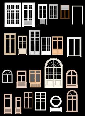 Thư viện 3d tổng hợp 22 model cửa gỗ kính các loại cổ điển Châu âu P10