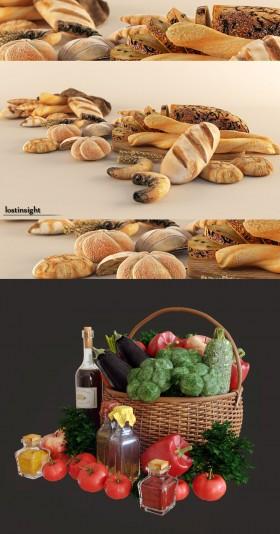 Thư viện 3dsmax tổng hợp 02 Model về Bánh mỳ, thực phẩm ăn uống P3