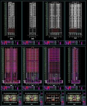 Hồ sơ bản vẽ autocad thiết kế tòa nhà sông Đà 35 tầng full kiến trúc