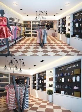 Phối cảnh 3d Nội thất Shop Quần áo phong cách Hiện đại 007