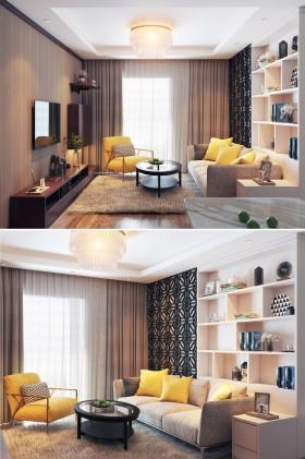 Phối cảnh nội thất 3D phòng khách với phong cách Hiện đại và đẹp 00059