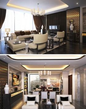 Phối cảnh nội thất 3D phòng khách + Bếp ăn chung cư phong cách và đẹp 00061