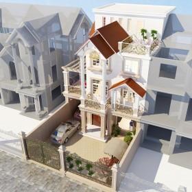 Phối cảnh 3d file Max Biệt thự 3 tầng pháp cổ 00023