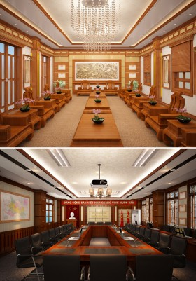 Hồ sơ thiết kế thi công nội thất Phòng tiếp khách và phòng hội trường ủy ban nhân dân huyện