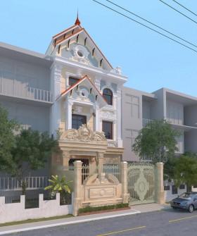 Thư viện 3dsMax Phối cảnh công trình Nhà phố phong cách Tân cổ điển pháp cổ 025