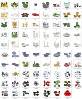 Thư viện 3dsmax tổng hợp Model về cốc, chén, bát đĩa trên bàn ăn P9