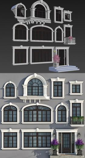 Thư viện 3d tổng hợp 11 model khung cửa sổ cổ điển Châu âu cực đẹp
