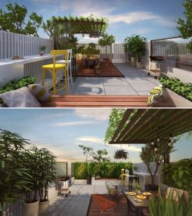 Phối cảnh 3dsmax Sân vườn tầng mái của Nhà phố MS02