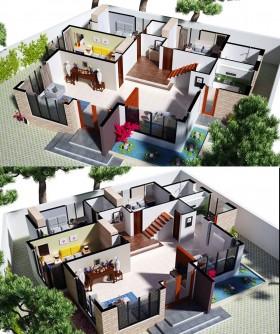 Phối cảnh nội thất 3D Mặt bằng nội thất bóc nóc nhà phố hiện đại