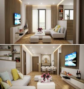 Phối cảnh nội thất 3D Phòng khách + Bếp ăn Chung cư Full 00067