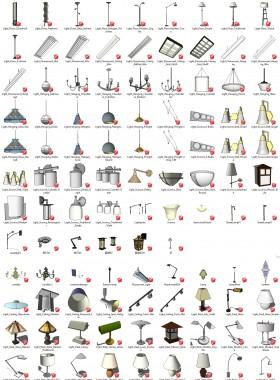 Tổng hợp thư viện Sketchup 3D gồm 96 model đèn các loại P2