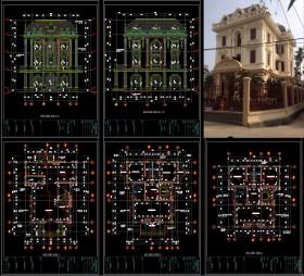Hồ sơ thiết kế Biệt thự 3 Tầng Tân cổ điển pháp cổ diện tích 11x16m - 0093 Full Kiến trúc