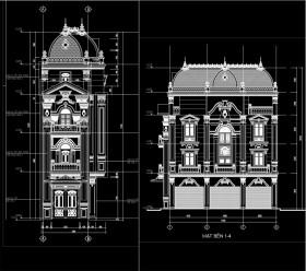 Hồ sơ thiết kế nhà phố 4 Tầng Tân cổ điển pháp cổ diện tích 4,5x12,6m - 102 Sơ bộ