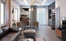 Phối cảnh nội thất 3D Phòng khách + Bếp ăn hiện đại và đẹp 00069
