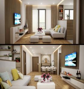 Phối cảnh nội thất 3D Phòng khách + Bếp ăn hiện đại và đẹp 00070