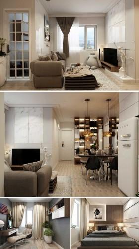 Phối cảnh nội thất 3D Phòng khách, Bếp ăn và ngủ chung cư hiện đại đẹp 00074
