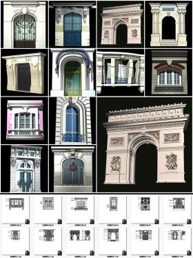 Thư viện autocad Tổng hợp 12 file autocad và 3d chi tiết Kiến trúc trúc Pháp cổ