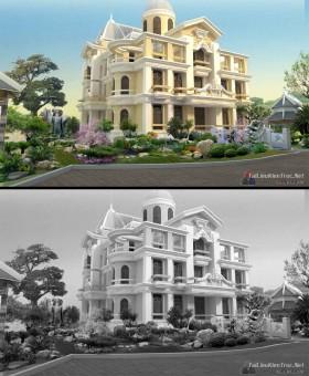 Thư viện Photoshop - File Psd phối cảnh cảnh quan công trình biệt thự Tân cổ điển P2