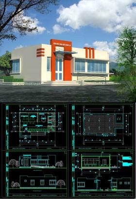 Hồ sơ thiết kế phương án sơ bộ tòa nhà Bưu chính viễn thông Xã mẫu 03