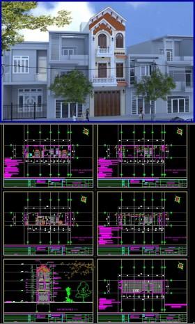 Hồ sơ thiết kế nhà phố 3 Tầng pháp cổ diện tích 4,5x15m - 106 full kiến trúc, kết cấu, điện nước