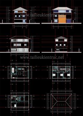 Hồ sơ thiết kế phương án kiến trúc Biệt thự 3 Tầng diện tích 9x13m - 0100