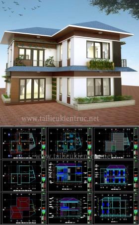 Hồ sơ thiết kế thi công Biệt thự 2 Tầng diện tích 8,5x12m - 0101 full kiến trúc