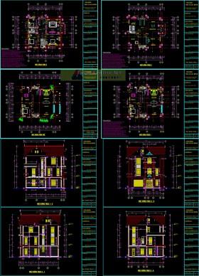 Hồ sơ thiết kế thi công Biệt thự 3 Tầng mái thái trên đất diện tích 15x16m - 0103 full kiến trúc, kết cấu và điện nước