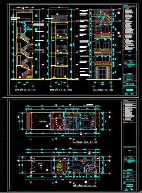 Hồ sơ thiết kế nhà phố 4,5 tầng diện tích 3,8x16,22m 111 full bản vẽ kiến trúc, kết cấu, điện nước