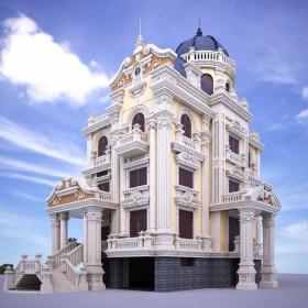 Phối cảnh 3d file Max Biệt thự lâu đài 4 tầng tân cổ điển 00031 full