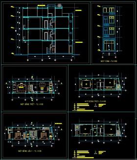 Hồ sơ thiết kế nhà phố 3,5 tầng diện tích 3,9x12,3m hiện đại 113 full bản vẽ kiến trúc, kết cấu và điện nước