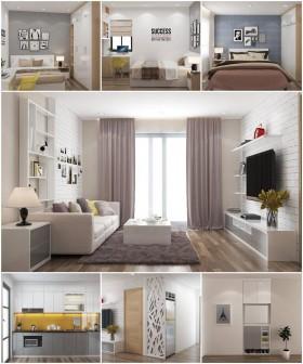 Phối cảnh nội thất 3D sketchup Phòng khách, Bếp ăn, phòng ngủ hiện đại đẹp 00080