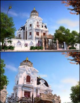 Phối cảnh 3d file Max Biệt thự Lâu đài 3 tầng Tân cổ điển 00036