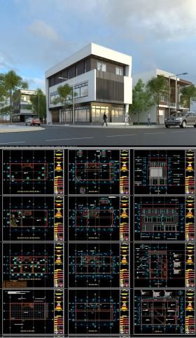 Hồ sơ thiết kế nhà phố 3 tầng 2 mặt tiền diện tích 8x18,3m hiện đại 118 full bản vẽ kiến trúc