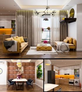 Phối cảnh nội thất 3D Max Phòng khách, Bếp ăn hiện đại đẹp 00081