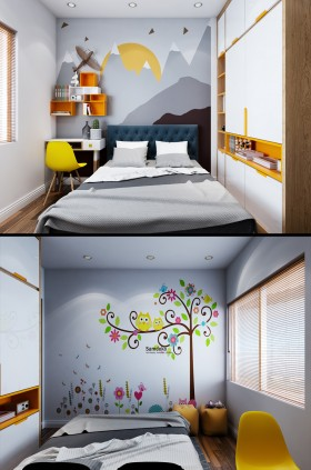 Sence Phòng Ngủ trẻ con 00019 - Thiết kế nội thất phòng ngủ con phong cách hiện đại