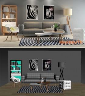 Phối cảnh nội thất 3D Max Phòng khách hiện đại scandivan 00084