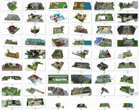Tổng hợp 50 File Sketchup 3D Model Thiết kế cảnh quan sân vườn nhà phố, biệt thự Mẫu P1