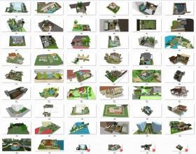 Tổng hợp 50 File Sketchup 3D Model Thiết kế cảnh quan sân vườn nhà phố, biệt thự Mẫu P2