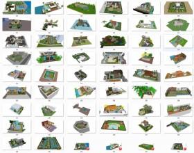 Tổng hợp 50 File Sketchup 3D Model Thiết kế cảnh quan sân vườn nhà phố, biệt thự Mẫu P3